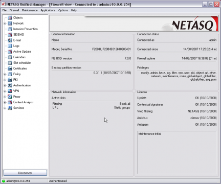 NetASQ screenshot